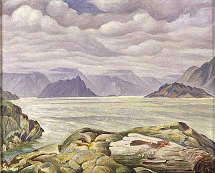 "Howe Sound from Copper Cove Oil on Panel 19.5"" x 17"", 1952"