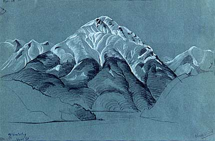 "Mount Wrotsley, Howe Sound Pastel on Coloured Paper 17"" x 11"", 1935"